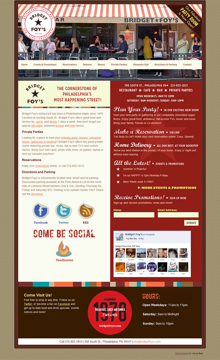 Bridget Foys Restaurant - Web Design & Development