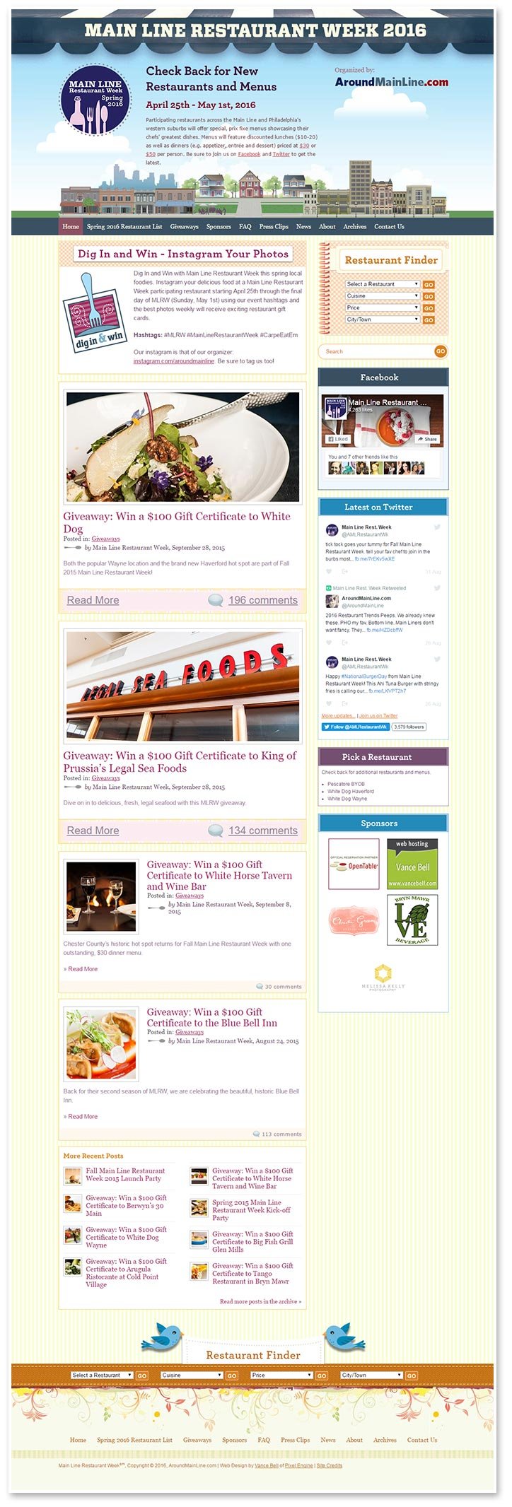 Main Line Restaurant Week - Web Design
