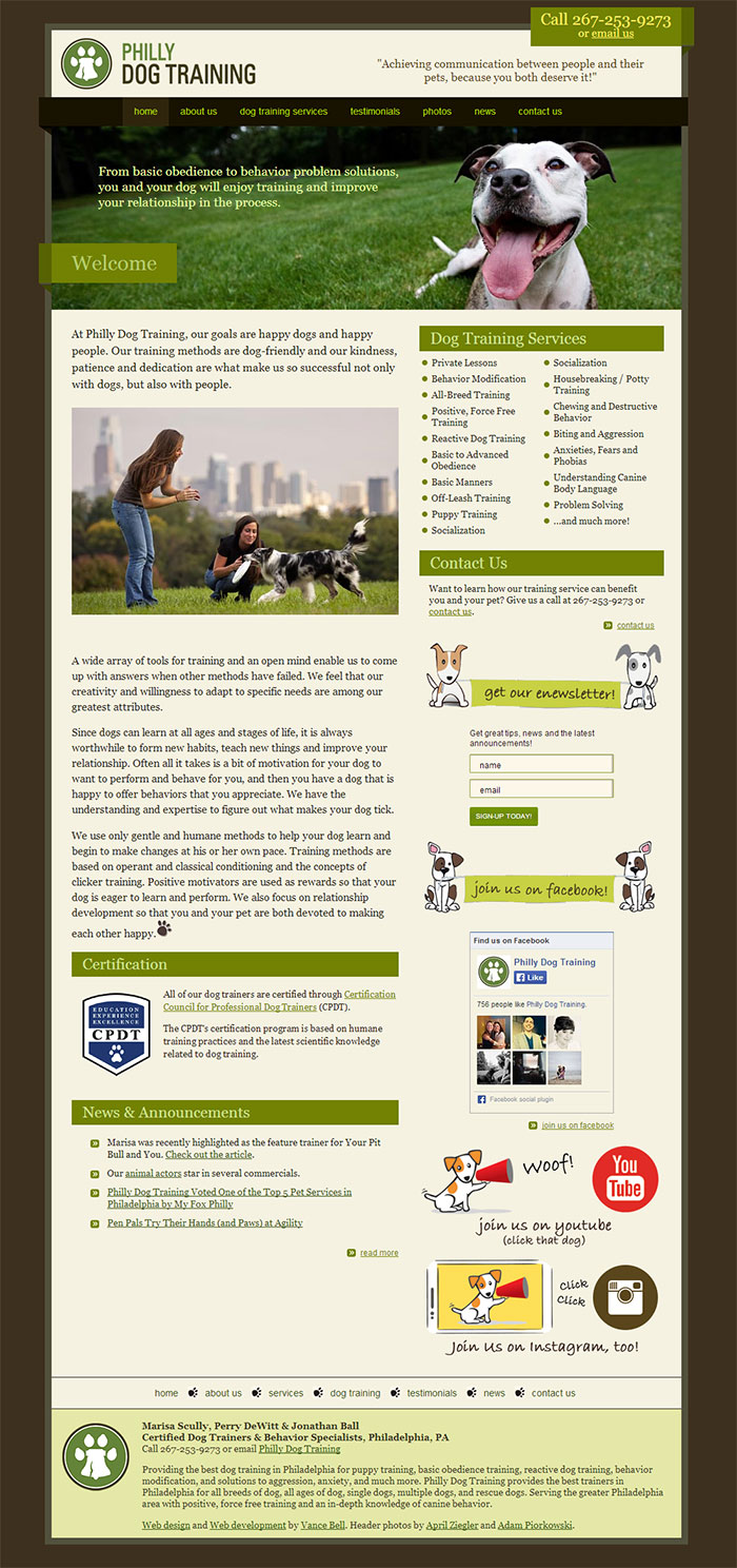 Philly Dog Training - Web Design & Development