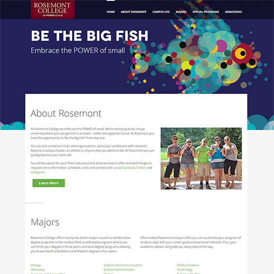 Rosemont College - Be The Big Fish - Web Design & Development
