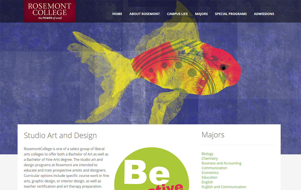 Rosemont College - Be the Big Fish Website Design