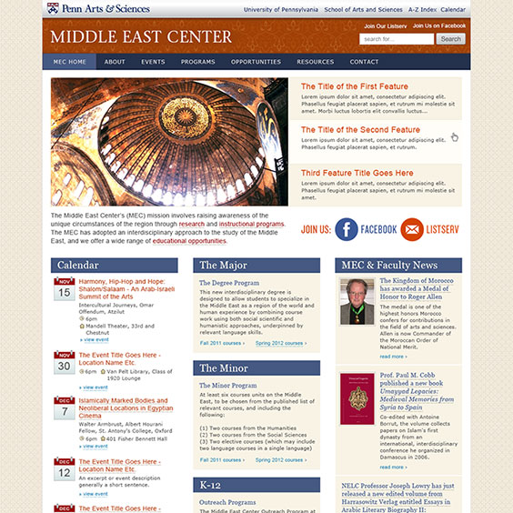 University of Pennsylvania - Middle East Studies Center, Web Design