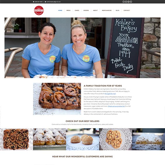 Kohler's Bakery Website Design