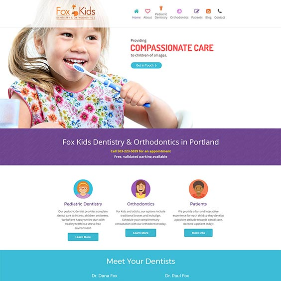 Fox Kids Dentistry - Web Design
